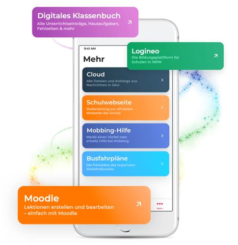 Schulapp Sdui Mehrbereich Funktionen Digitales Klassenbuch, Cloud, Logineo, Moodle, Busfahrpläne, Schulwebseite, Mobbinghilfe auf Smartphone
