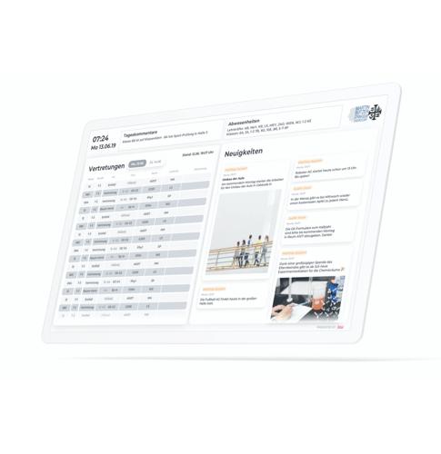 Infoscreen für Schulen Neuigkeiten und Digitaler Stundenplan und digitaler Vertretungsplan auf Tablet